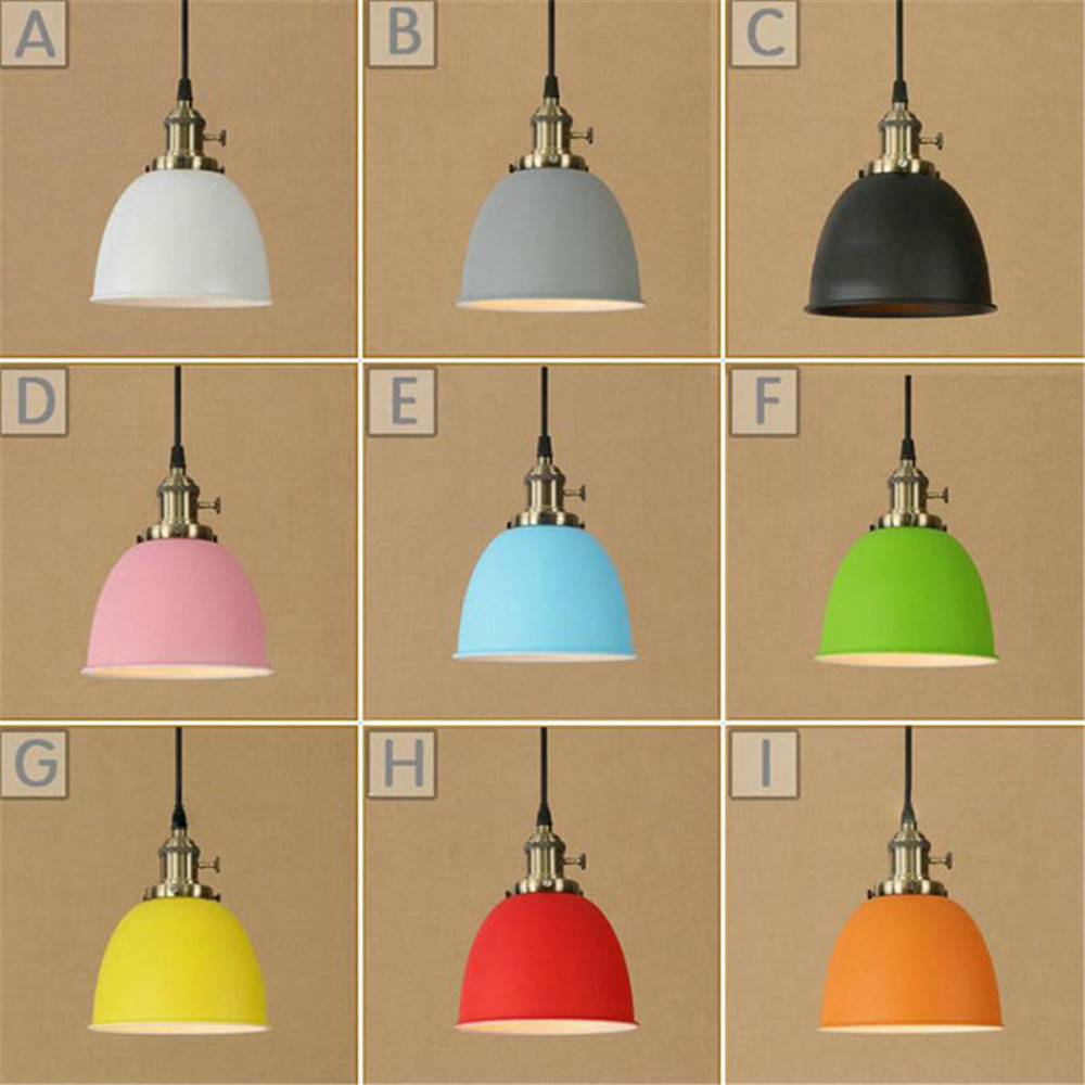 Modern Metal Colorful Lampshade Led Pendant Light Loft