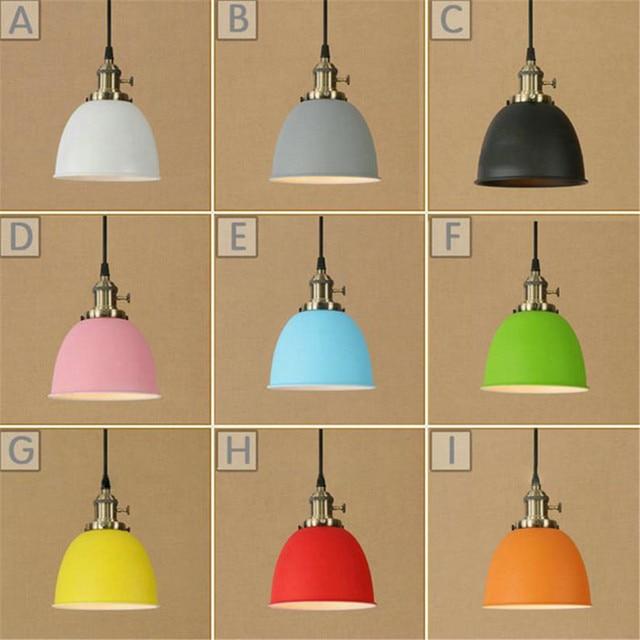 Modern Metal Colorful Lampshade Led Pendant Light Loft Pendant Lamp Retro  Hanging Lamp Grey Blue Yellow