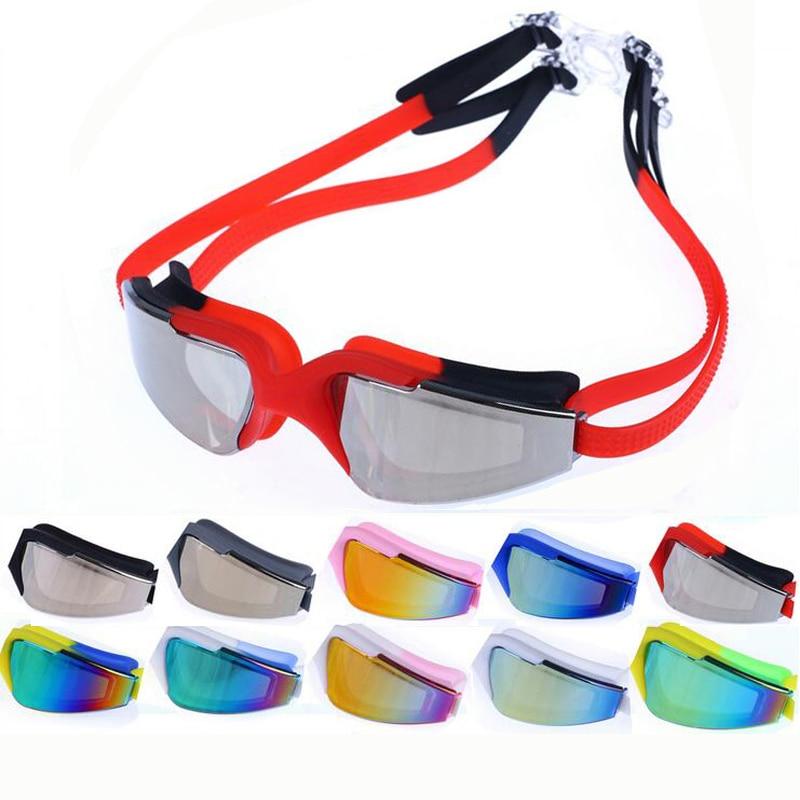 Красочные профессиональный гальванических водонепроницаемый анти-туман защита от ультрафиолетового излучения плавательный бассейн мягкие силиконовые очки для плавания очки очки