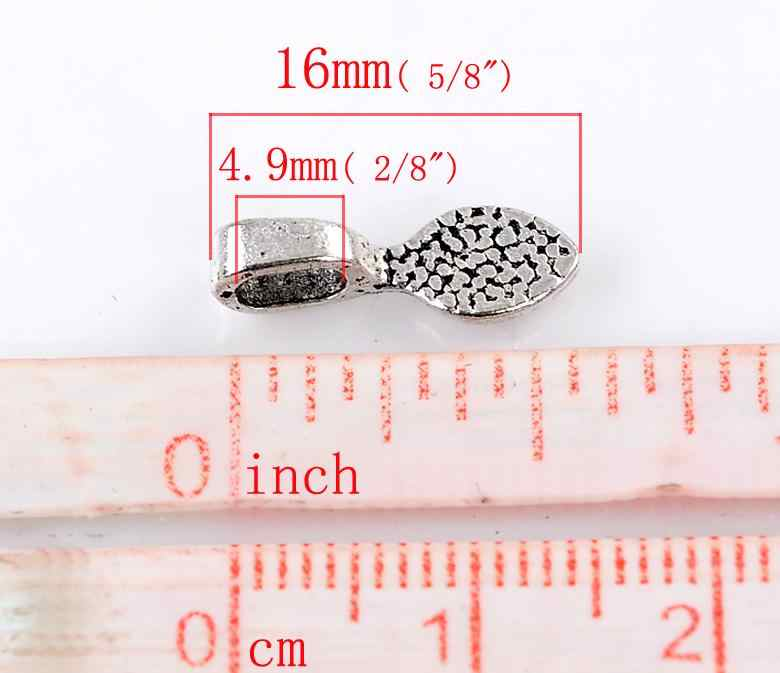 DoreenBeads cinc metal aleación Bails cuentas hoja punto antiguo de plata patrón 16mm (5/8 pulgadas) x 5mm (2/8 pulgadas), 5 uds nuevo