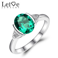 Leige Jewelry Green Emerald Ring Engagement Promise Rings For Women Elegant Jewelry 925 Sterling Silver Anniversary