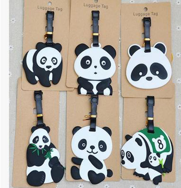IVYYE 1PCS Cute Panda Anime Luggage Tag Bag Travel Accessories Suitcase ID Address Portable Tags Holder Baggage Labels New