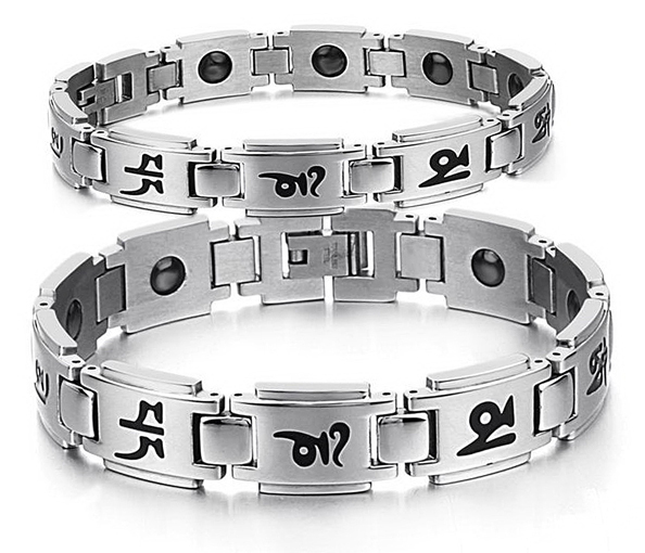 2015  classic Tibetan Buddhist blessed Six-words Proverb Om Mani Padme Hum titanium bracelets & bangles set for couples