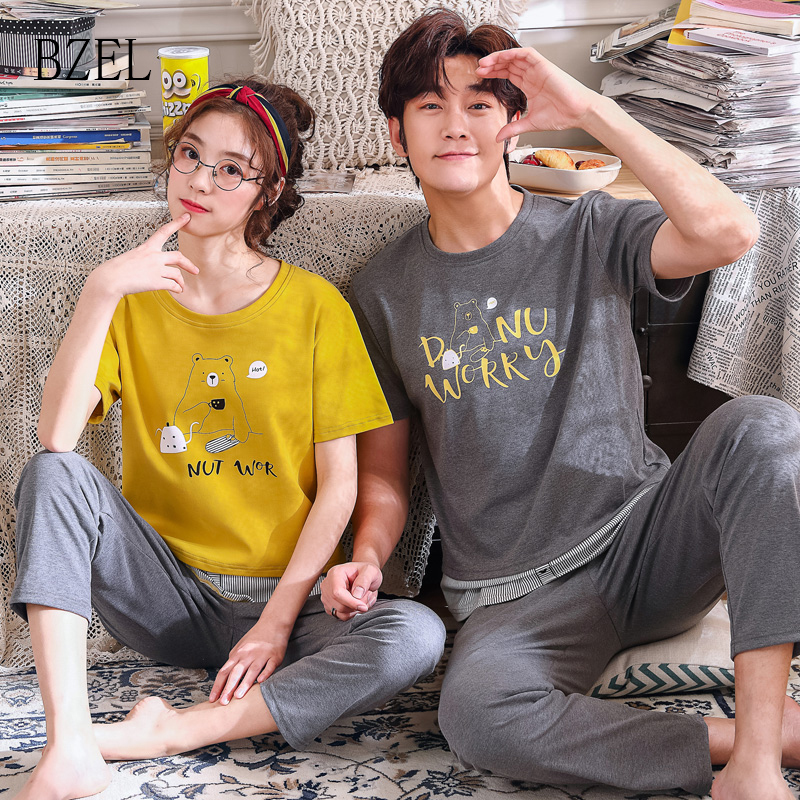BZEL Women&Men Pajamas Sets Couple Pijamas Cotton Short Sleeve Sleep Lounge Cartoon Nightwear Lovers' Clothes Casual Home Wear