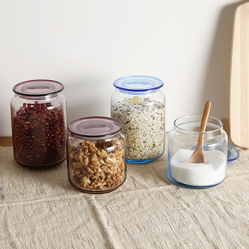 Seal storage tank transparent glass jars kitchen storage bottle of grain pot home orgainzer