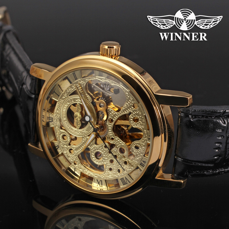 Watches Men Hollow Out Mechanical Watches Luxury Brand Watch Male Dress Genuine Leather Band Golden Skeleton Watch genuine leather band watches men automatic watch skeleton mechanical watch hollow out back dragon dial dragon watch luxury brand