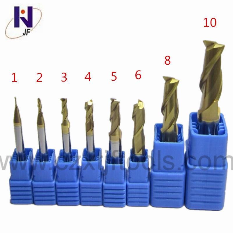 7pc Set HRC58 2 flutes 1mm 2mm 3mm 4mm 5mm 6mm 8mm Tungsten Carbide End Mill