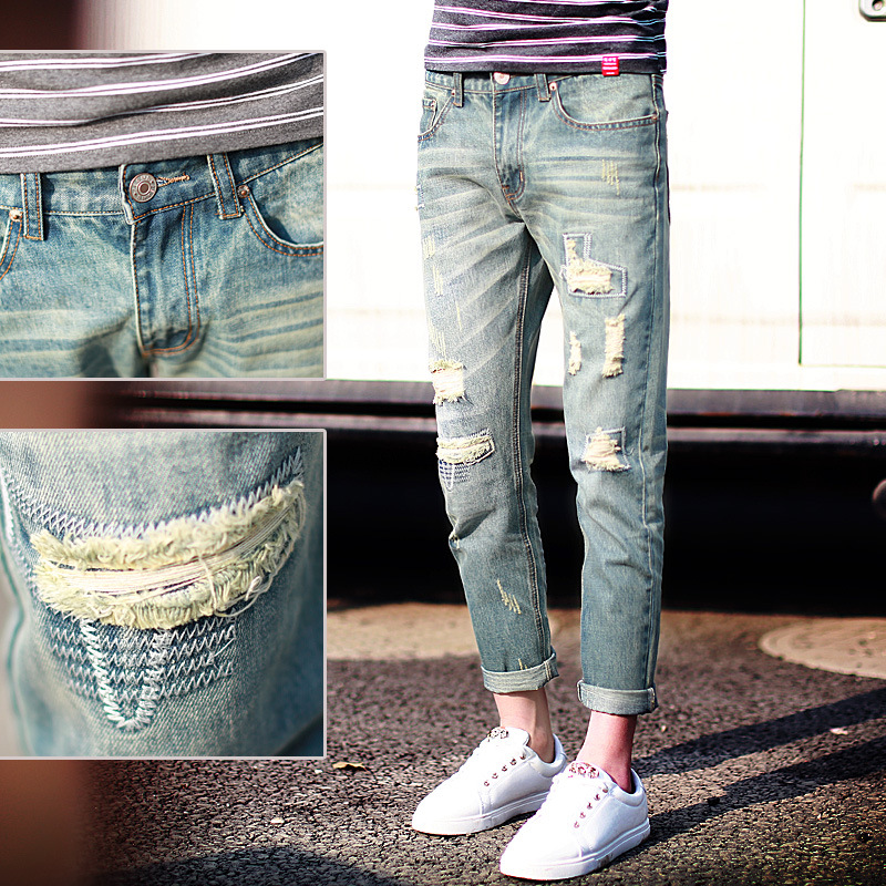New Arrivals 2016 spring and summer new retro Pants men Slim Fit hole nine points jeans Men's Casual  Trouser