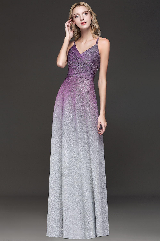 Robe de soirée Sexy dos nu violet Ombre longue Robe de soirée 2019 charmante sangle Spaghetti lumineuse soie Robe de soirée Robe de soirée - 3