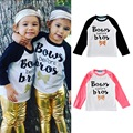 ins*2017 newest baby boys girls spring autumn cotton T-shirts Bows Before Bios letter printed full sleeve 1-5Y fashion