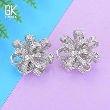 GODKI Luxury Fashion Flower Stud Earrings For Women Wedding Cubic Zirconia Crystal CZ Indian African Bridal Silver Stud Earrings