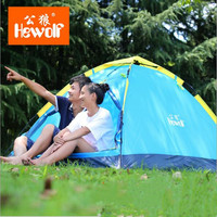 Hewolf 2 Person Tent New Arrived 3 season 200*150*110 cm monolayer Outdoor Camping Hike Travel Play Tent high toughness glass r