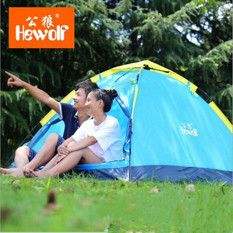 Hewolf 2 Person Tent New Arrived 3 season 200*150*110 cm monolayer Outdoor Camping Hike Travel Play Tent  high toughness glass r new hike