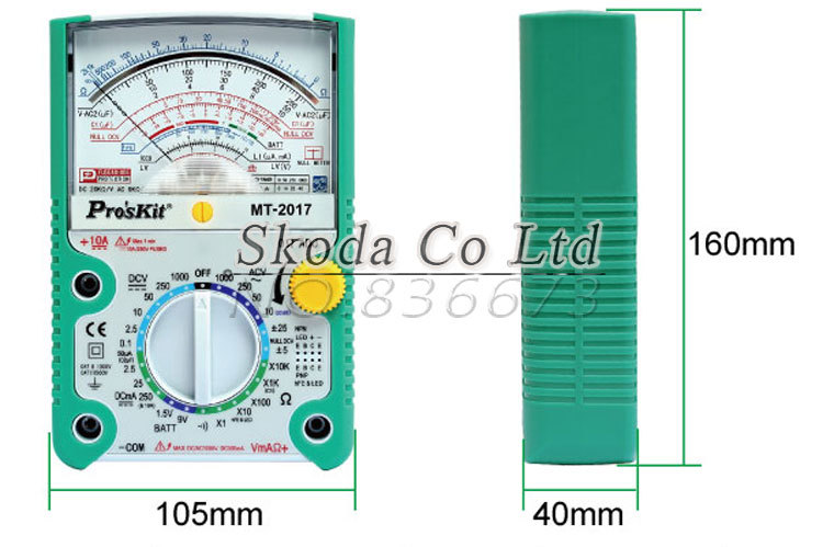 26 gear Proskit MT-2017 AC/DC LCD Protective Function Analog Multimeter,Ohm Test Meter,Capacitance Measurement
