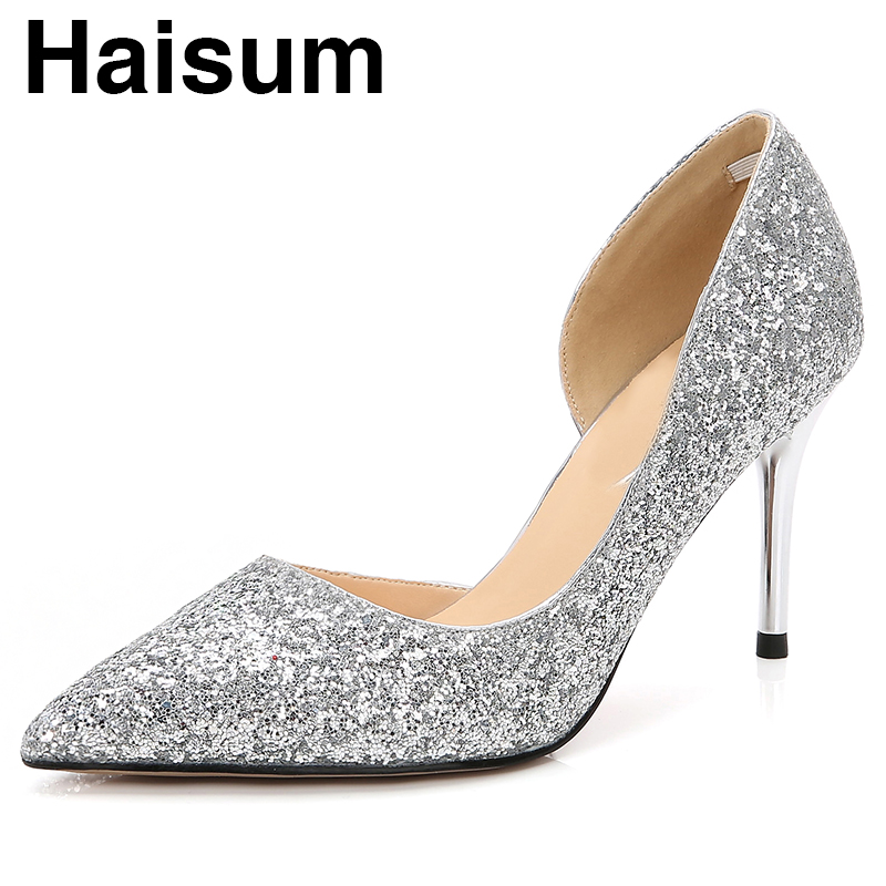 Silver sequins gradient high heels inside hollow pointed fine with high heels LB0072