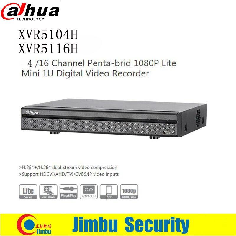 Dahua XVR H.264 video recorder XVR5104H XVR5116H 4 16ch HDCVI/ AHD/TVI/CVBS/IP video inputs 1 SATA Port, up to 6TB capacity dahua xvr video recorder xvr5408l xvr5416l xvr5432l 8ch 16ch 32ch 1080p support hdcvi ahd tvi cvbs ip video inputs