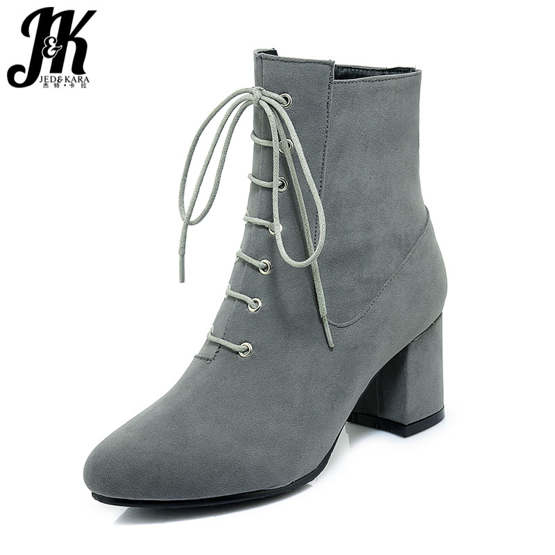 JK 2018 Ankle Women Boots Autumn High Heels Boot Round Toe Warm Footwear Lace Up Fashion Party Female Shoes Flock Women Shoes maxmuxun women autumn winter rubber ankle boots lace up round toe flat heels classic black grey faux suede shoes female footwear