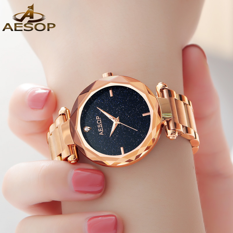 AESOP Starry sky Women watches Luxury High quality Japan MIYOTA Movement Quartz Watch Ladies Rose Gold Steel Dress Watch women стоимость