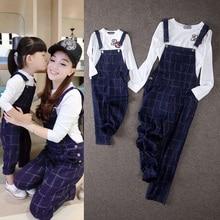 Девочка спагетти ремень брюки мода плед родитель — ребенок twinset футболка нагрудник брюки комбинезон комплект одежды для матери и