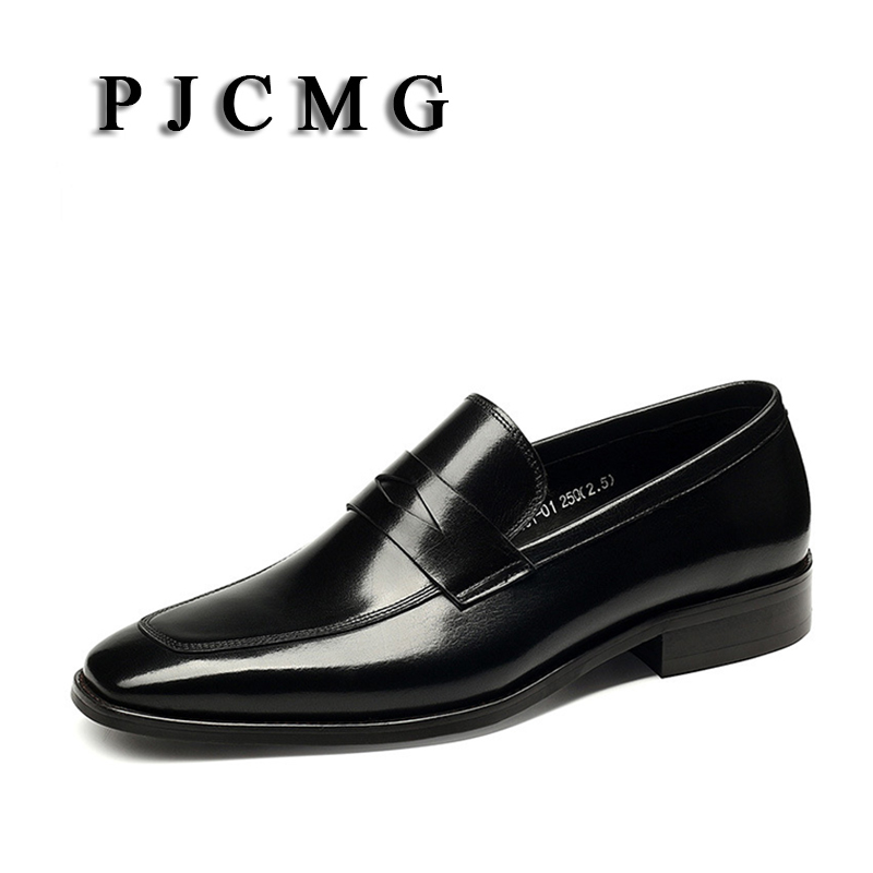 PJCMG New Breathable Mens Business Slip-On Black/Wine Red Formal Dress Genuine Leather Wedding Oxfords Office Shoes pjcmg fashion high quality wine red black formal oxfords business genuine leather lace up dress breathable mens wedding shoes