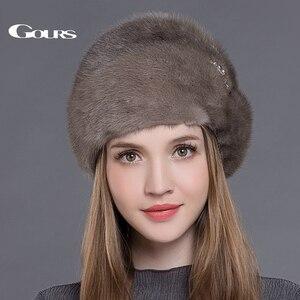 Image 4 - Gors chapéus de pele de vison real inteiro das mulheres chapéus de pele com coroa de luxo moda russa inverno grosso quente alta qualidade boné nova chegada