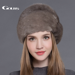 Image 4 - Женская меховая шапка Gours, черная Толстая теплая шапка с короной из натурального меха норки на зиму 2019