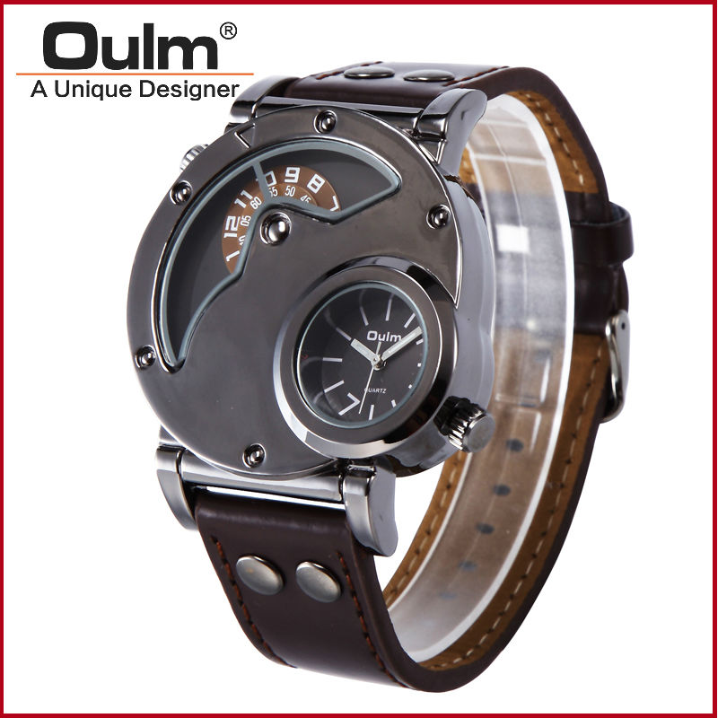 Top Luxury Brand Army Big Dial OULM 9591 Watch 2 Time Zone Quartz Men Watch Business Leather Band Wrist Watch Relogio Masculino top brand luxury oulm 2 time zone men watches military sports quartz watch 2017 men rose golden case relogio masculino box