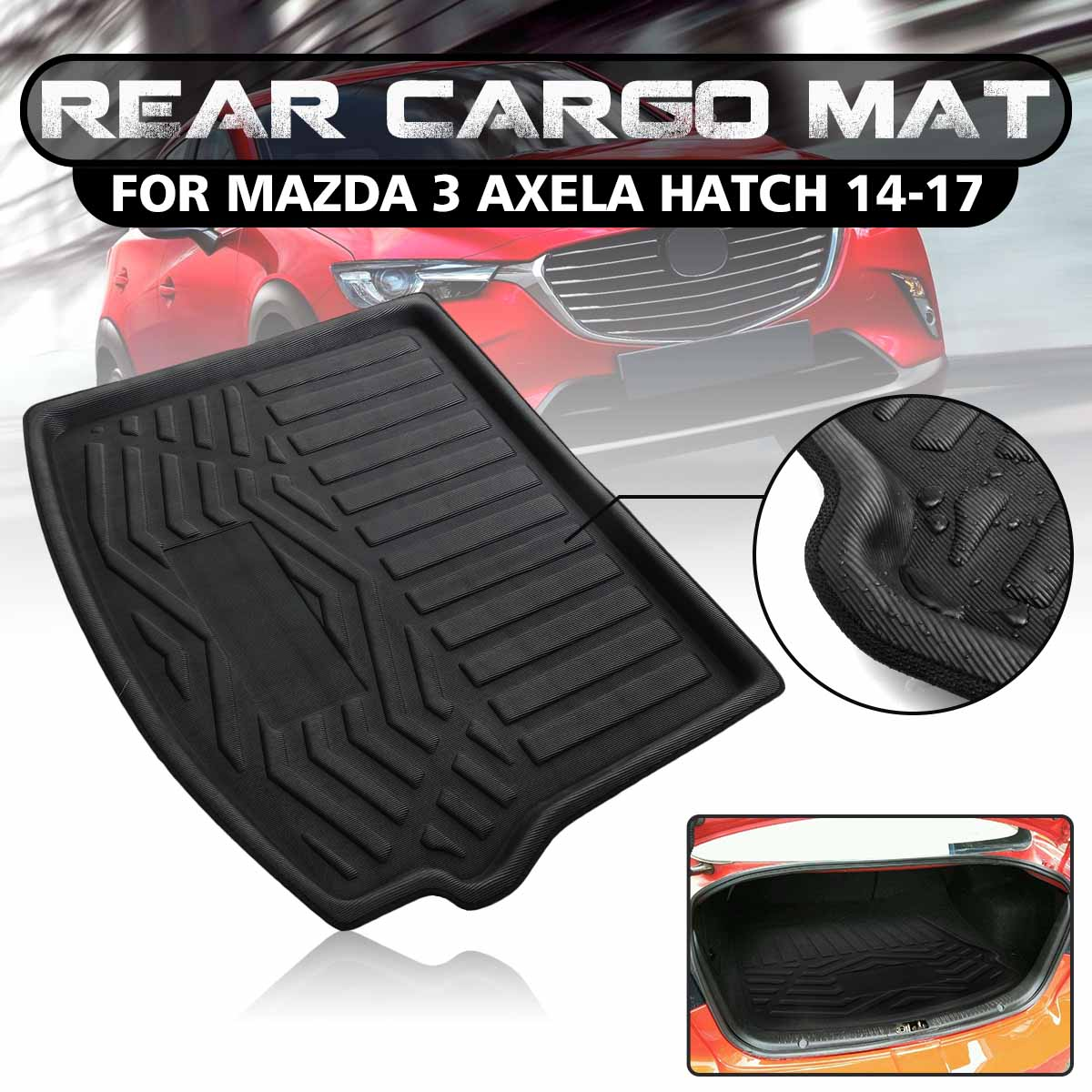 Audew Hatch Rear Cargo Mat Trunk Tray Boot Liner Floor Pad For Mazda 3 Axela 14 17