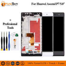 Free Shipping 100% Tested 5 inch 1920x1080 Display For HUAWEI P7 LCD Ascend P7 Touch Screen Digitizer Assembly With Frame white black gold for huawei ascend mate s lcd display screen touch digiziter assembly with frame free shipping