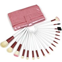 Free Shipping Drop Shipping Makeup Brushes 18pcs Pink Professional Makeup Brush Set With Pink Leather Case