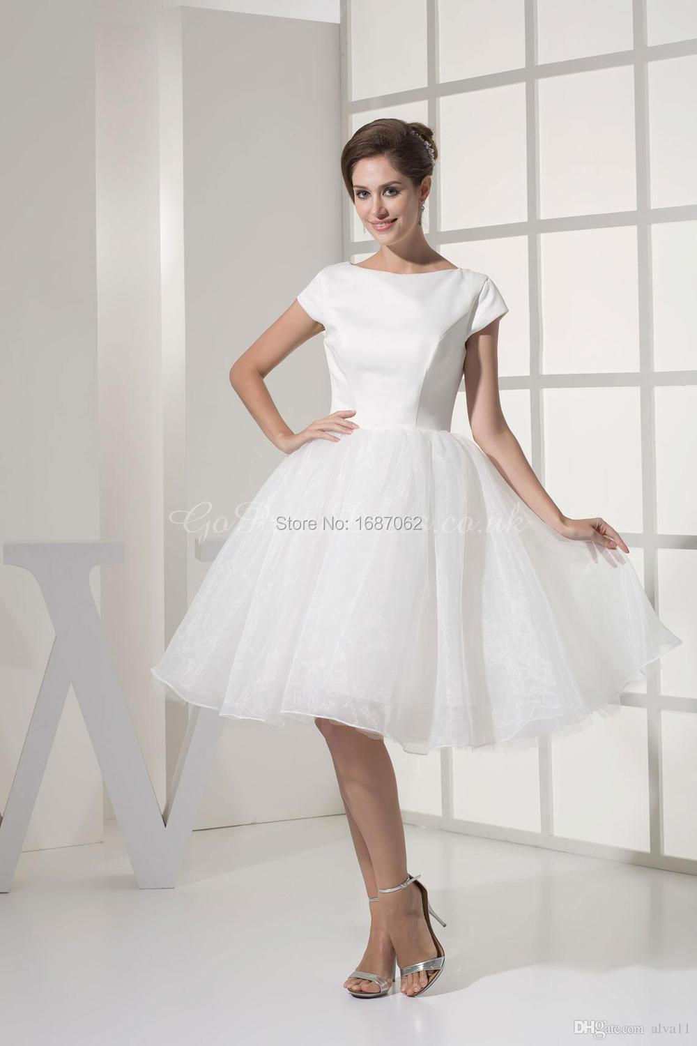 Princess Satin Organza Short Bridal Dresses Bateau Knee-Length Short Sleeves  White Casual Wedding Dresses 706f48844f27
