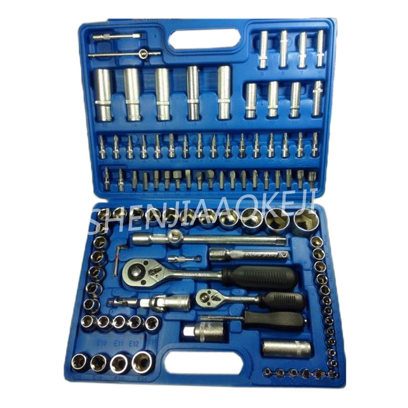 108 pièces/ensemble manches outil de réglage Auto outil de réparation Combinaison outil clé à douille chrome vanadium acier