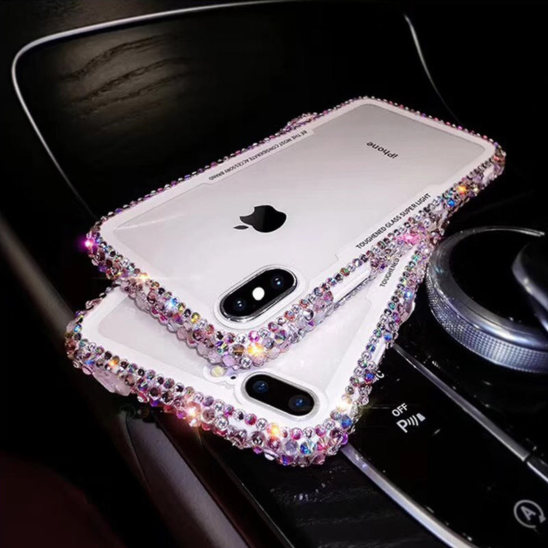 Ascromy For iPhone 7 Case Glitter Rhinestone Silicone Bumper Tempered Glass Back Cover For iPhone X 8 Plus 6 6S Capa Accessories (4)