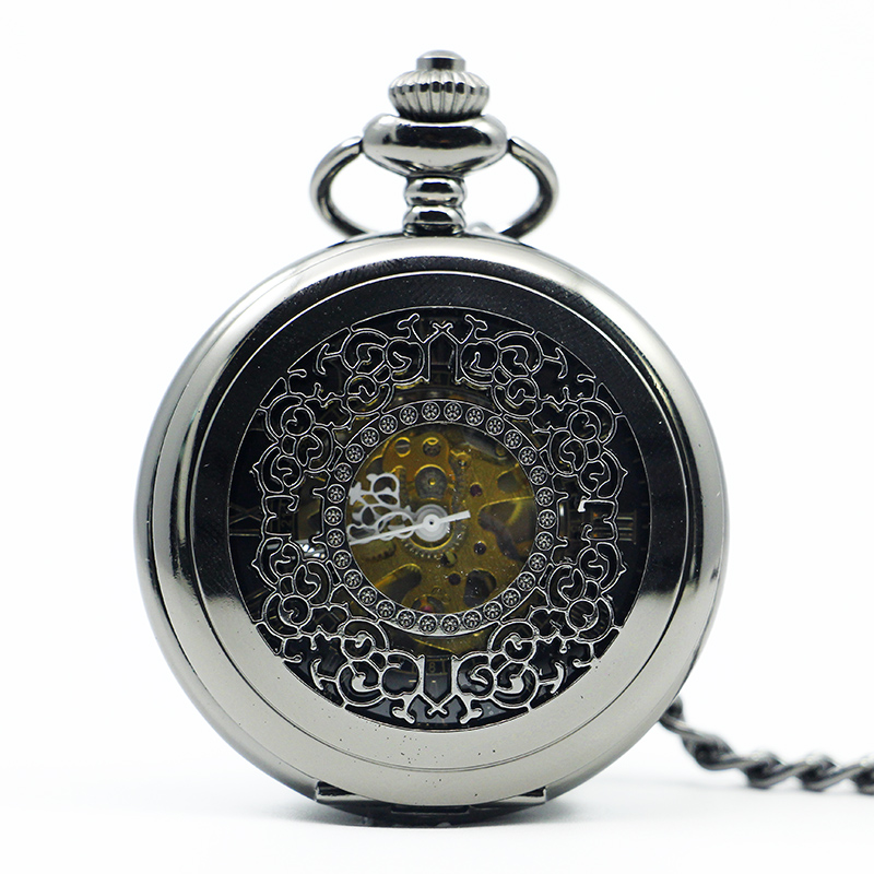 Silver Mechanical Pocket Watch Hollow Pattern Hand Winding Classic Steam Exquisite Stainless Steel For Men Women PJX1220