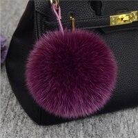 13 15cm luksusowy puszysty prawdziwy lis futrzana kulka Pom Pom pluszowy rozmiar prawdziwe futro breloczek metalowy wisiorek obrączka brelok do torby K010 purple w Breloczki na klucze od Biżuteria i akcesoria na