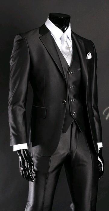 Cea mai nouă bluză de mireasă Tuxedo Grosmen Groomsmen Negru Negru - Imbracaminte barbati