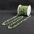 5Meter/lot New  Wire Wrapped Green Aventurine Chips Beads Link Rosary Chains Jewelry Findings JT047