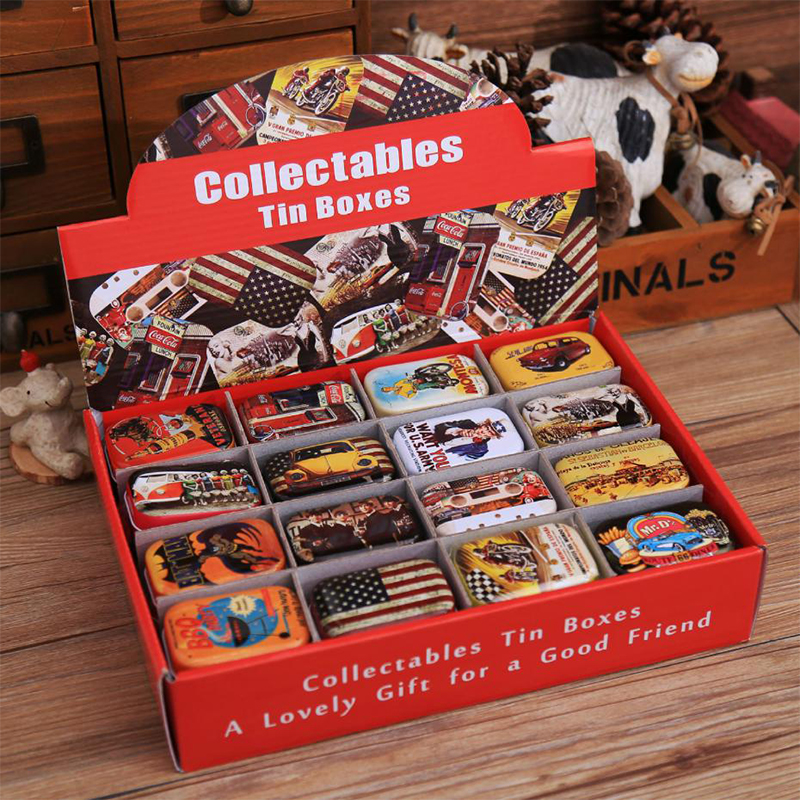 16Pcs/Lot Anime Vintage Cartoon Tin Box 5.5*4*2.5cm Candy Pill Chutty Mini Storage House Decoration Collectables Display Toys
