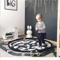 Jogo Tapete para Crianças Jogar Mat Bebê Engatinhando Tapete de Algodão Macio Divertida Aventura Estrada De Brinquedo Rodada Tapete Carro Tapetes de Jogo