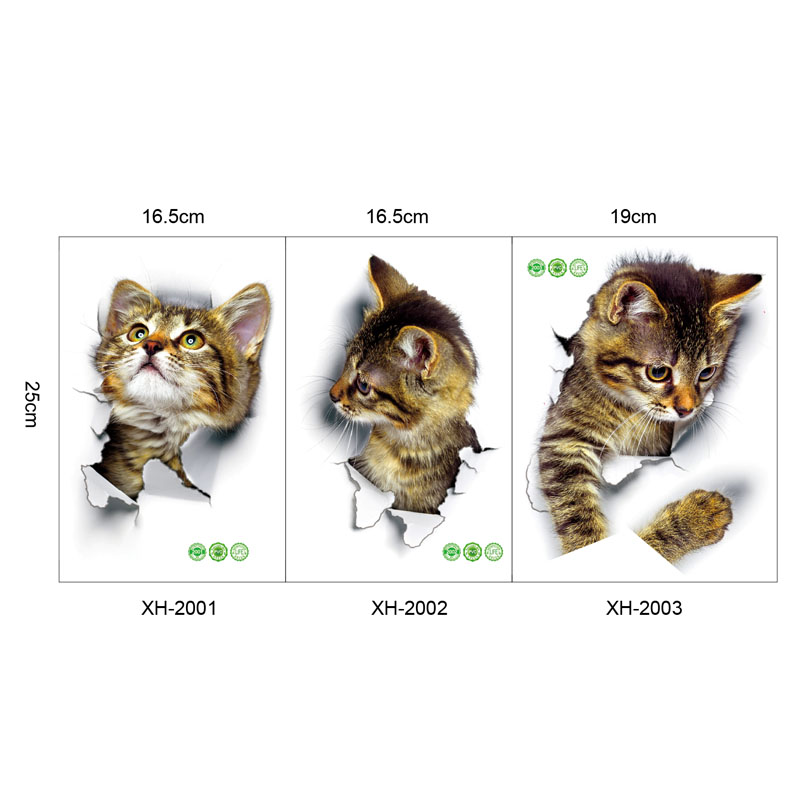 Cute 3D Cat Wallpaper Decorating Bathroom Toilet Living Room Home Decor Decal Background PVC Stickers Wallpapersc
