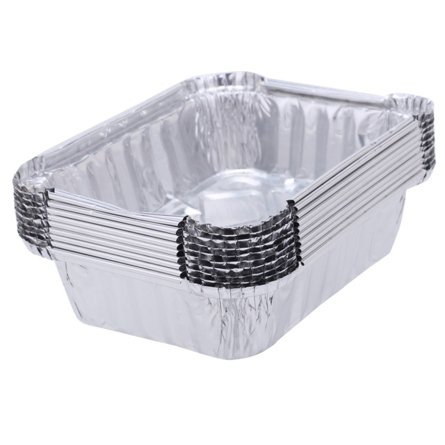 10pcs 220ml food storage containers small boxes aluminium foil pans microwavable cup takeaway food box disposable - Small Storage Containers