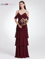 Ever Pretty Women Elegant Sexy Long Bridesmaid Dresses Chiffon V Neck Backless Formal Wedding Party Bridesmaid