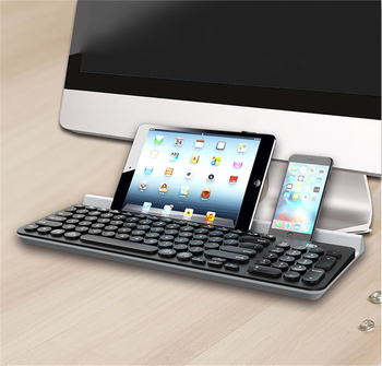 Round Keys Mini Wireless Keyboard Laptop Ergonomic Bluetooth Keypad with Stand Slot Support for Windows Mac Android iOS