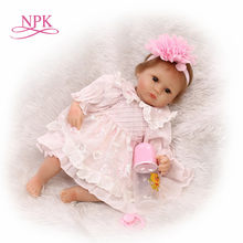 NPK 18inch Soft Silicone Realistic Reborn Toddlers Girls lifelike Baby Dolls bebe reborn boneca gifts toys for girls kids(China)
