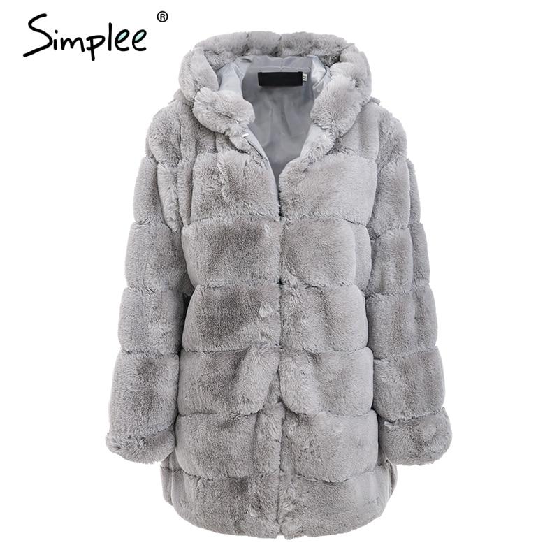 c625a8550ac4e Dropwow Simplee Vintage fluffy hoodie faux fur coat women Winter ...