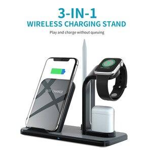 Image 2 - 3 en 1 10W chargeur rapide Qi chargeur sans fil pour Apple Watch 5 4 3 2 1 pour iPhone 11 XR XS Max X 8 Samsung S10 S9 S8 pour AirPods