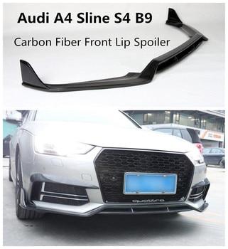 Fibra De carbono Frente Lip Spoiler Para Audi Sline A4 S4 B9 2017 2018 2019 Alta Qualidade Bumper Difusor Auto Acessórios
