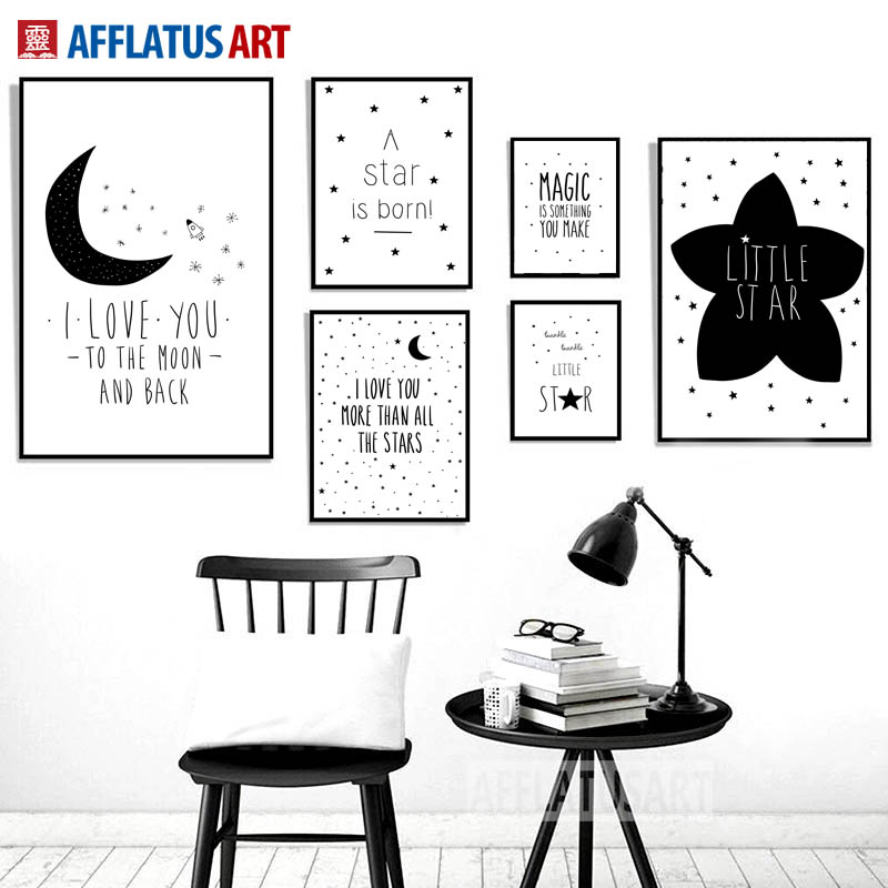 AFFLATUS Black White Moon Star Quotes Nordic Poster Wall Art Print Canvas Painting Pictures Style Kids Decoration