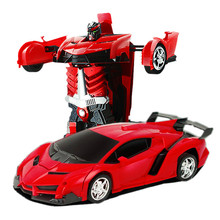лучшая цена RC Car Transformation Robots Sports Vehicle Model Robots Toys Cool Deformation Car Kids Toys Gifts For Boys dropshipping