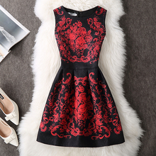 ALABIFU Women Dress 2018 Autumn Winter Elegant Sexy Casual Floral Dress Vintage Sleveeless Party Dresses Plus Size vestidos 5XL